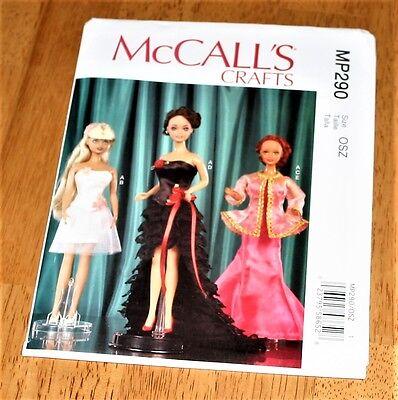 "Mc CALLS Pattern #290 FASHION 11.5"" DOLL FORMAL WEAR 5 Designs UNCUT 2016"