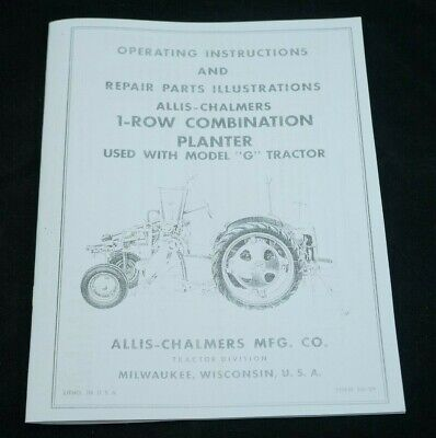 Allis Chalmers G Tractor 1 Row Mounted Planter Owners Parts Manual Ac Disk