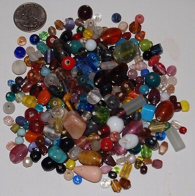 Mixed Pony Beads - 1/4 Pound bag Mixed Glass Beads Small & Medium & Large--Pony Crow Barrel Rice