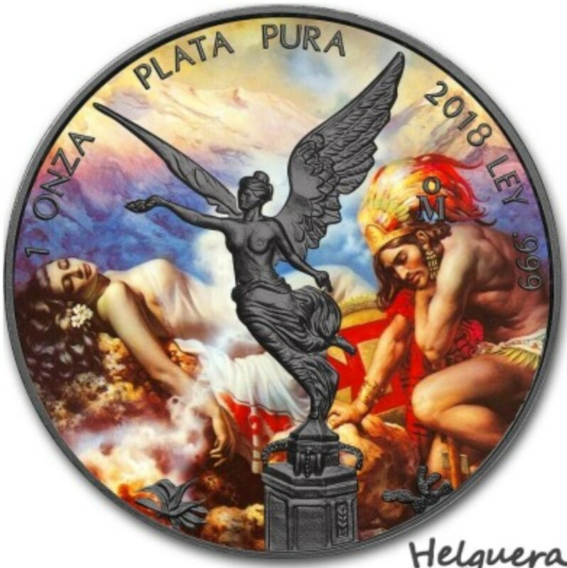 2018 Mexican Libertad LEGENDS OF THE VOLCANOS Colorized 1oz .999 Silver Coin