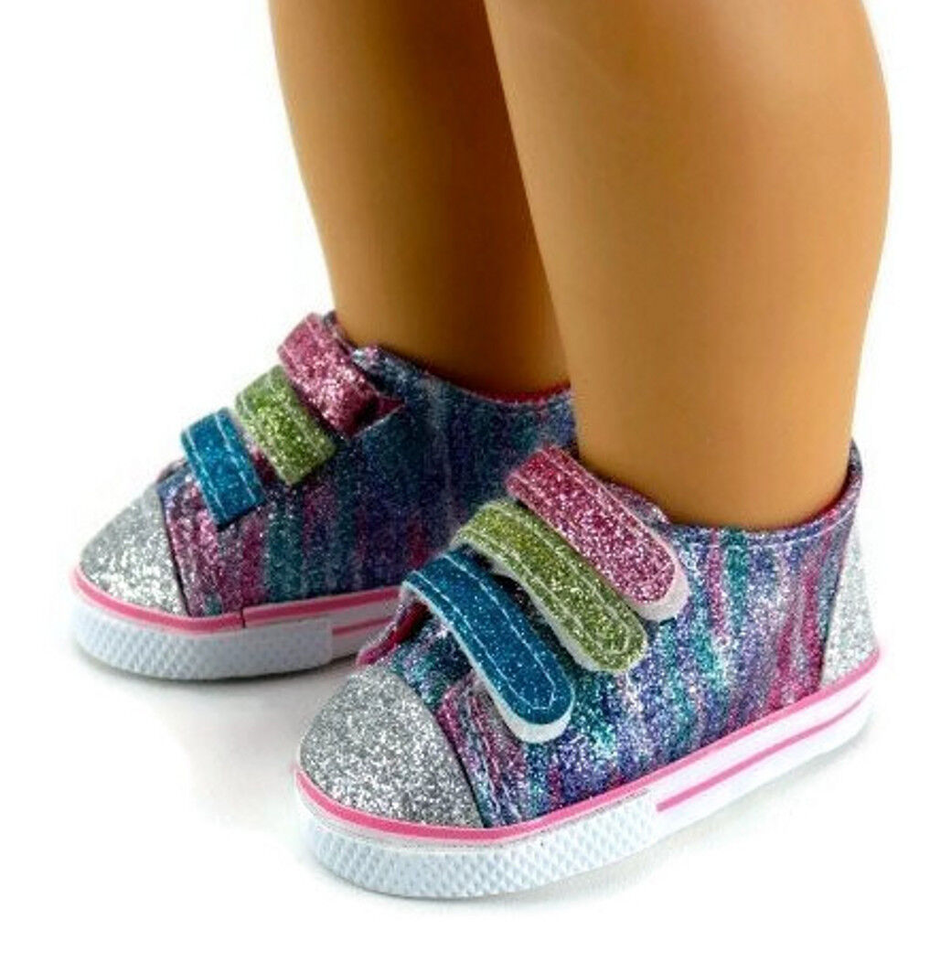 "Rainbow Glitter Tennis Shoes Sneakers made for 18"" American"