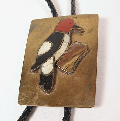 Vintage Navajo Brass Western Bolo Tie Woodpecker Jet Jasper Mens Jewelry Red