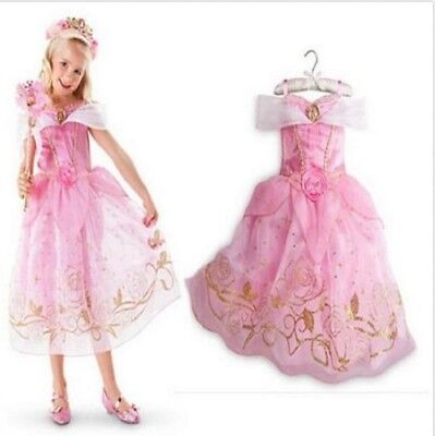 Kids Girls Costume  Princess Aurora Sleeping Beauty Inspired Dress Size 5/6