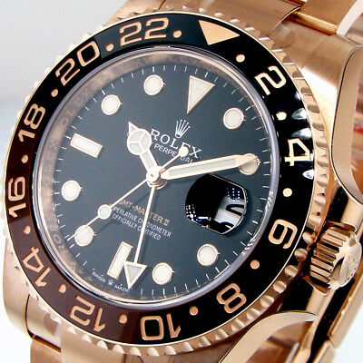 ROLEX GMT MASTER ll 126715 18K PINK EVEROSE GOLD 40 mm BLACK DIAL ROOT BEER