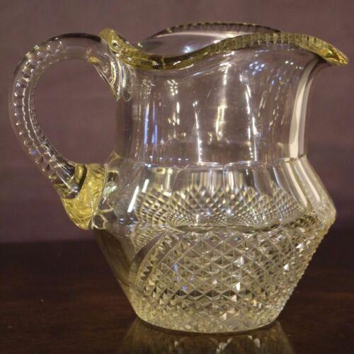 Rare antique cut glass Irish jug pitcher1800s late Georgian Regency original