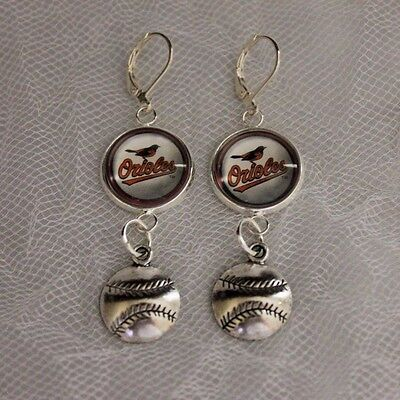 - Baltimore Orioles Earrings w/Baseball Charm Upcycled from Baseball Cards