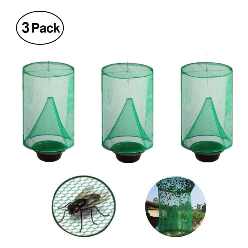 3PCS Ranch Fly Trap,Flay Catcher,Most Effective Trap Ever Made with Food Ba W0K1