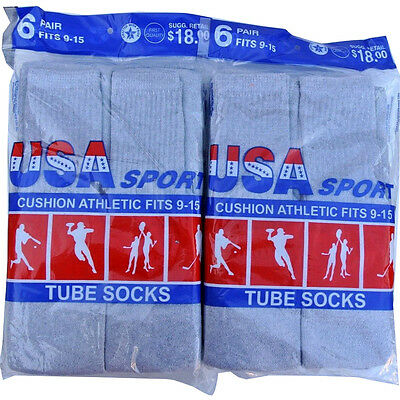 6/12 Pairs  Gray/Black Men's Cotton Athletic Sport TUBE Socks 9-15 Made in USA
