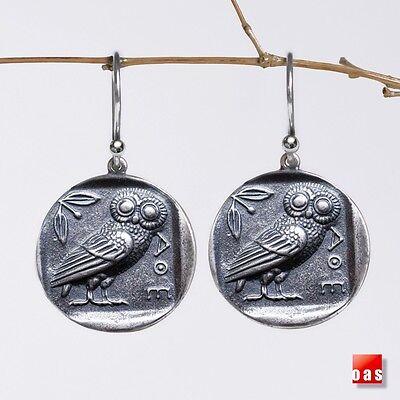 Greek Warrior Goddess Athena Pure Sterling Tetradrachm Wisdom Owl Coin Earrings