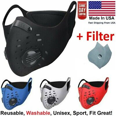 Usa Reusable Sport Face Mask With Active Carbon Filter Breathing Valves Unisex