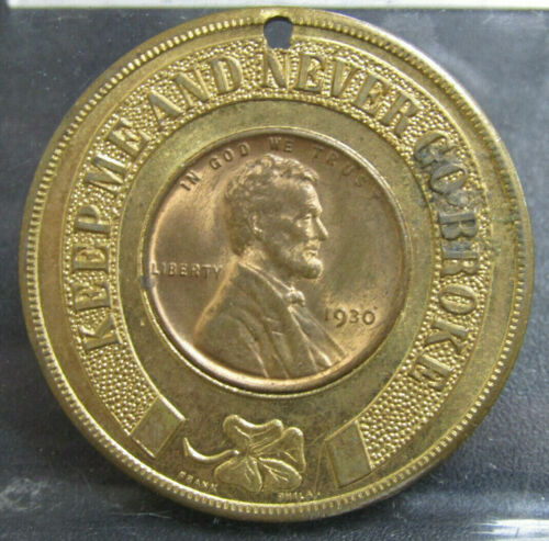 Brass Encased Cent 1930 Wheat Cent Member of The Lucky Coin Club