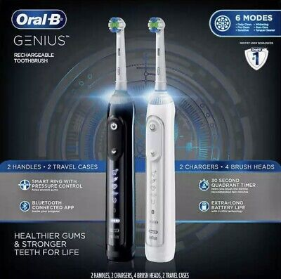 Brand New Oral-B Genius 2-Pack Rechargeable Toothbrushes Bluetooth Connectivity