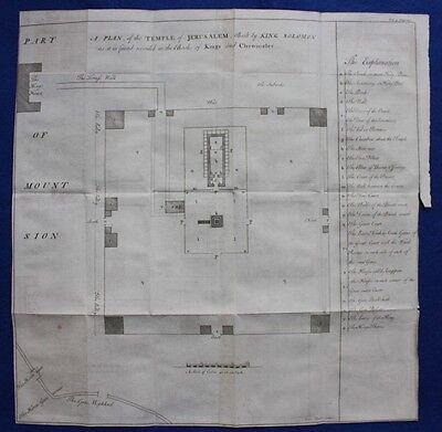 Uncommon original antique map / plan TEMPLE OF JERUSALEM, E. Bowen, 1747