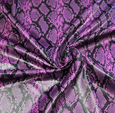 Shiny high gloss finish SNAKE SKIN print Fuchsia black faux Vinyl fabric BTY 60