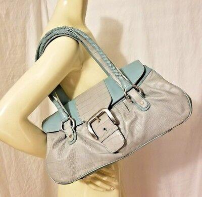 Croc Satchel Bag - ADRIENNE VITTADINI Shoulder Bag Satchel Blue Leather Croc Triple Compartment