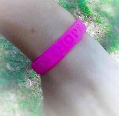 Breast Cancer Awareness Fuchsia Pink Ribbon Silicone Rubber Bracelet Hope Cancer Awareness Rubber Bracelets