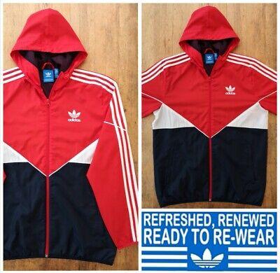 ADIDAS Originals Windbreaker Jacket Hooded Size Medium Mens Track Top zipped red