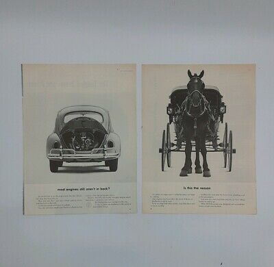 1963 VW 2 AD Posters Volkswagen Beetle Bug vintage Black and White Photos Funny