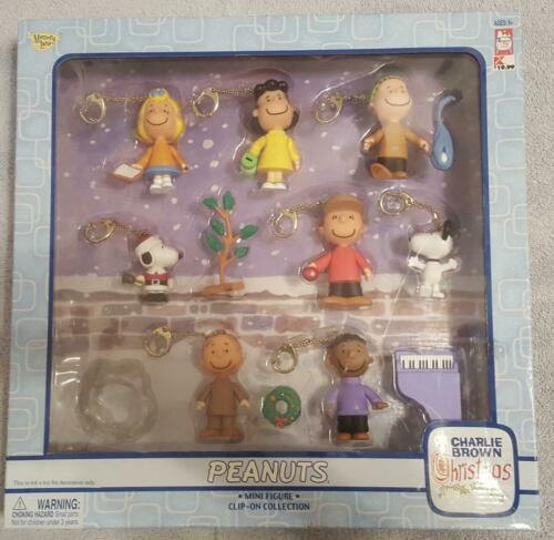 Peanuts Charlie Brown Christmas Mini Figure Clip-On Collection Box Set 2004 NIB