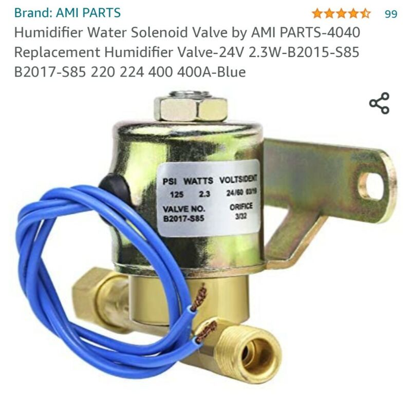 Humidifier water solenoid valve 125psi 24v Part no. B2015-S85