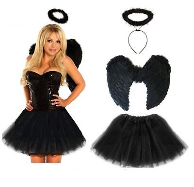 Dark Fallen Angel Fancy Dress Costume Halloween Party Black Fairy - Teen & Adult (Fallen Fairy Costume)