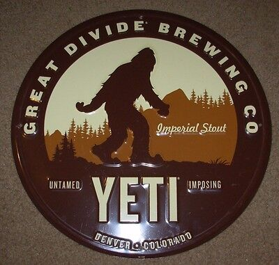 GREAT DIVIDE BREWING Yeti Stout METAL TACKER SIGN craft beer brewing brewery