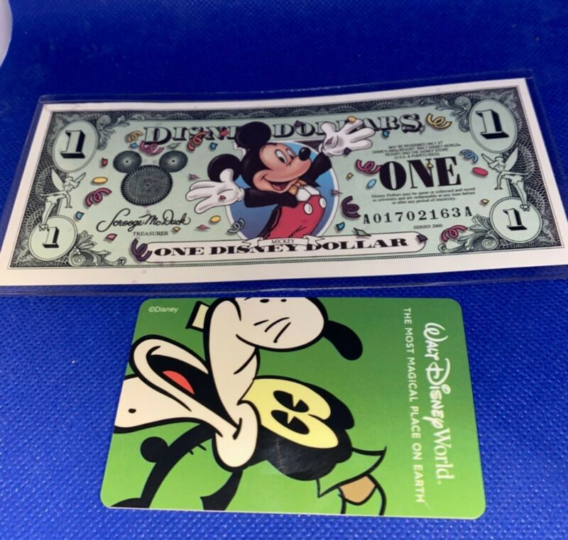 Mickey Mouse Disney Dollar & Goofy Room Key Card