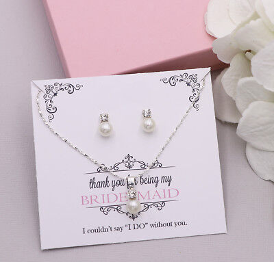Bridesmaid Pearl Crystal Wedding Bridesmaids Earrings and Necklace Gift Set