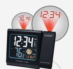 La Crosse 616-146A Atomic Projection Alarm Clock w/ Indoor Temp & Moon Phase