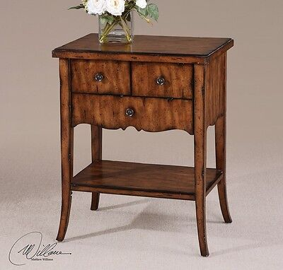 - French Country Cottage Tuscan Distressed End Side Accent Table