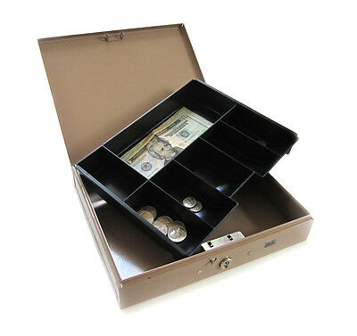 Heavy-duty Steel Cash Strong Box For Petty Cash Fundraising Office