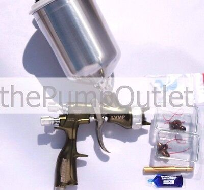 Binks Trophy Gravity Feed Lvmp Spray Gun W Aluminum Cup 2466-lv1 1.2 1.4 1.8mm