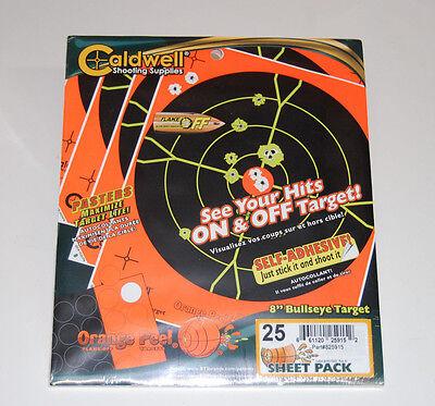 "Caldwell 8"" Orange Peel Bullseye Targets, 25 Sheets"