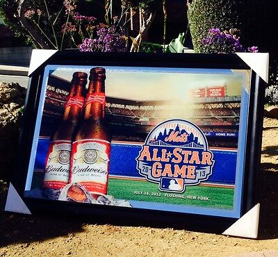 "Budweiser New York Mets All Star  Game Baseball MLB Big Beer Bar Mirror ""New"""