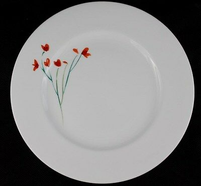 NEW Anna's Artistry China by Crate and Barrel Floral Salad Plate Red Flowers