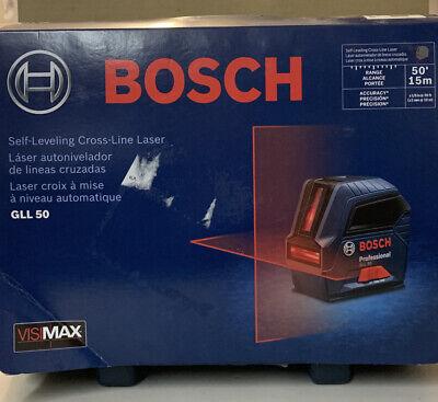 New Bosch Gll50 - 50 Ft. Self Leveling Cross Line Laser Level - 000346486711