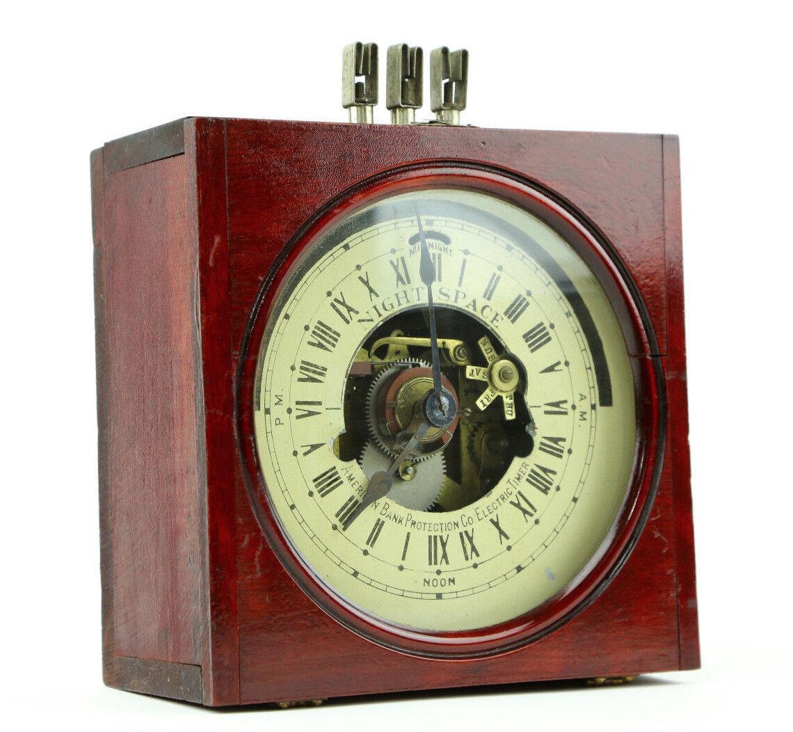 Antique Seth Thomas 24hr American Bank Protection Co. Clock Vault Safe Timer Old