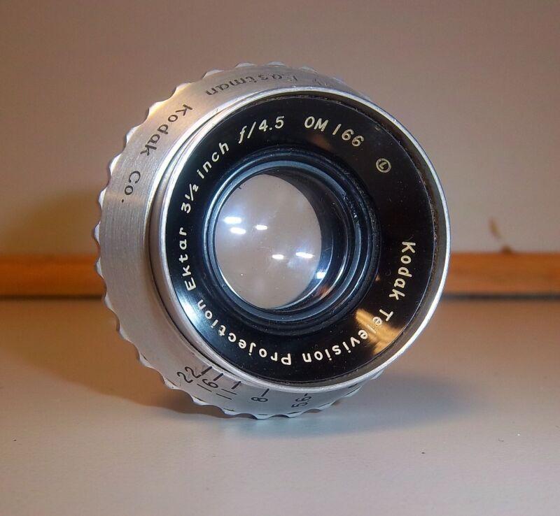 "Kodak Television Projection Ektar 3 1/2"" f/4.5 Lens. Used"