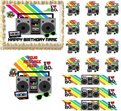 Awesome 80's RETRO THEME 80's Party Edible Cake Topper Image Frosting Sheet! NEW (80s Party Themes)