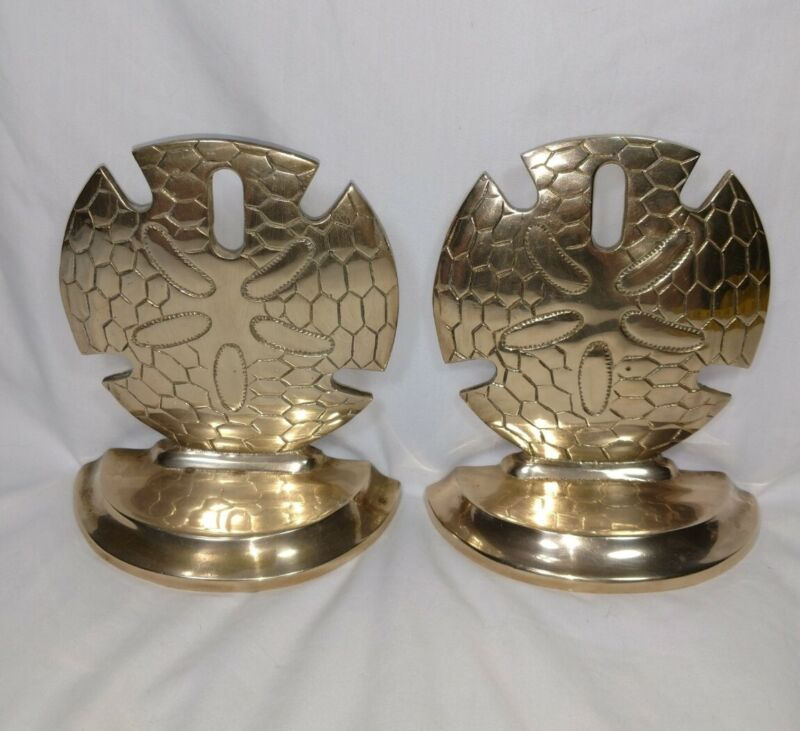 """Vintage Sand Dollar Bookends Solid Brass  6""""T X 5""""W Detailed Seaside"""