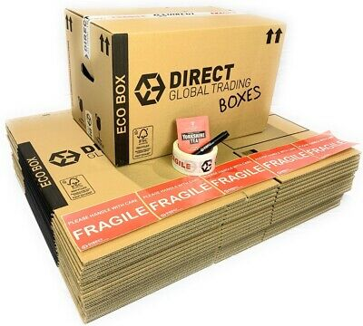 15 Eco Friendly Strong Cardboard Storage Moving Boxes with Tape Pen & Stickers