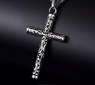 Stainless Steel Rope Cross Pendant Necklace & 60cm Chain Set