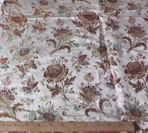"French Antique c1870 Floral Silk Brocade Home Dec Fabric~L-30"" X W-23"""