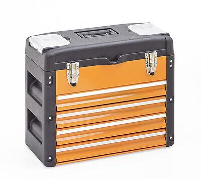 Werkzeugkiste 4 Schubladen, METALL Kunststoff orange Einlegefach Werkzeugkasten