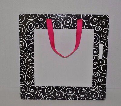 11x11 Black And White Swirled Dry Erase Memo Board Whot Pink Hanging Ribbon