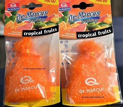2x TROPICAL FRUITS Hanging FRESH BAG car Dr.MARCUS Air FRESHENER smell PERFUME