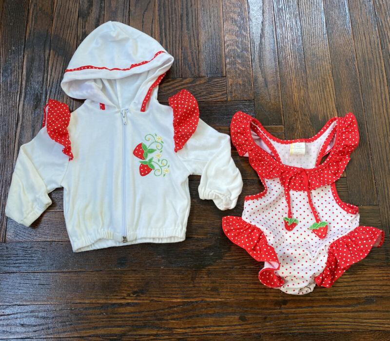 Vintage Strawberry Polka Dot Swim Bathing Suit & Jacket Girls Toddler Baby Cute!