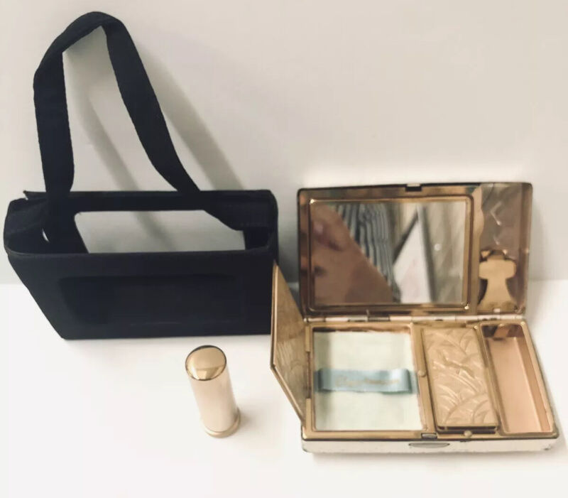 Vintage Elgin American Compact + Carrier Gazelle Design! Mirror Divided Sections
