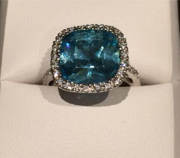 Brand new Ladies Sterling Silver Aquamarine cubic zirconia Dress Ring
