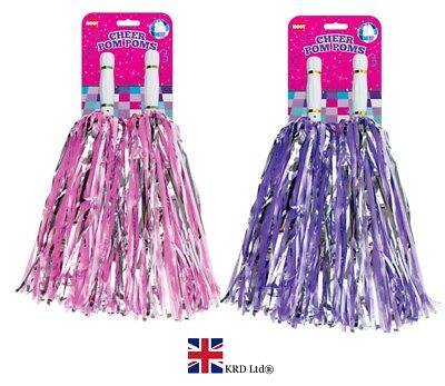 2x JUMBO CHEERLEADER POM POMS Fancy Dress Accessory Dance Group Theatre Shows - Pom Dance Kostüm